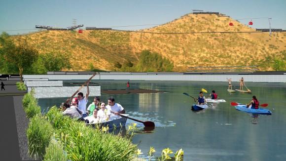 Imagen objetivo de la primera etapa del Parque Metropolitano Cerro Chena, Laguna. Cortesía Gobierno Regional Metropolitano de Santiago para Plataforma Urbana