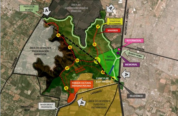 Plan Maestro Cerro Chena elaborado por el Equipo de Diseño Secretaría Ejecutiva. Cortesía Gobierno Regional Metropolitano de Santiago para Plataforma Urbana
