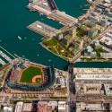 Plan propuesto por Perkins+Will para Mission Rock en San Francisco. Imagen © Render por Steelblue/Perkins+Will, San Francisco Giants