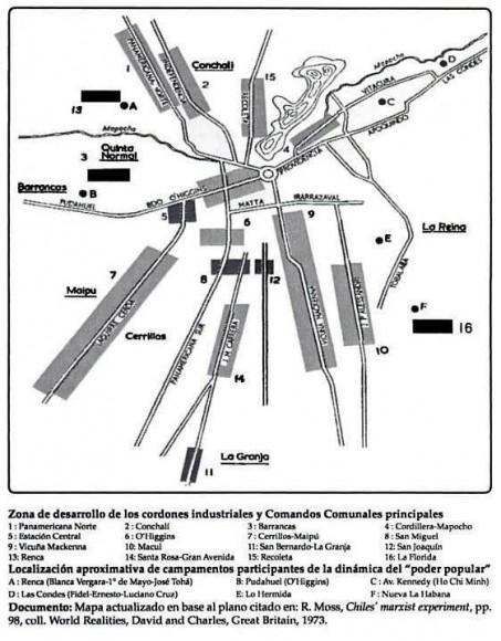 Cordones industriales hacia 1973. Fuente cordonesindustriales.cl