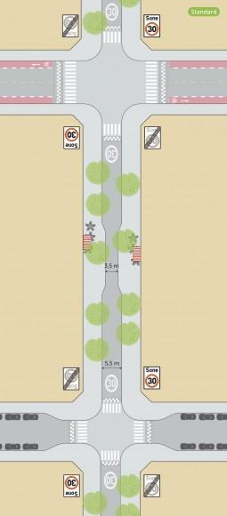 """Zonas 30. Fuente: Informe """"Estándar para facilitar la bicicleta en Oslo""""."""