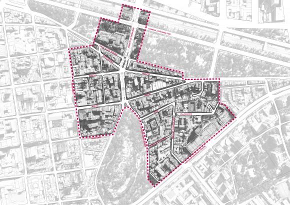 Plano del distrito de Calles Compartidas