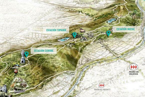 Ubicación de las estaciones del Teleférico del Parquemet. Imagen de referencia. Fuente: telefericomet.cl