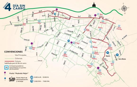 Mapa Dia sin Carro Bogota 2016 4 de febrero