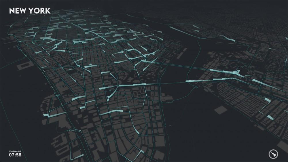 Nueva York - Vista de ciudad de viajes en bicicleta © cf. city flows