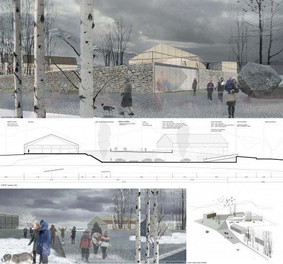 """Primer Lugar en concurso """"Diseño de Espacios Públicos para Farellones, un pueblo de montaña"""". Image Cortesía de Municipalidad de Lo Barnechea"""