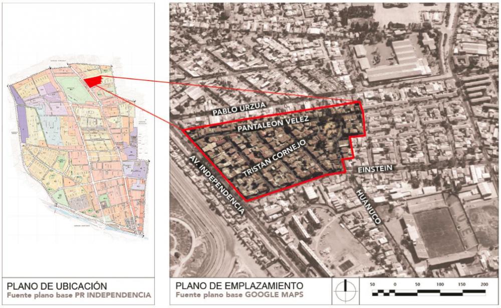 Emplazamiento de la Población Artesanos La Unión. Elaboración de Jessica Ponce en base a imagen Google Earth y PRC. Cortesía Independencia Cultural para Plataforma Urbana.