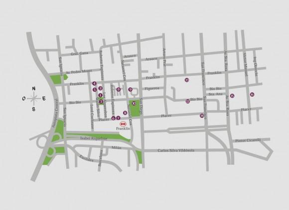 """Mapa de la """"Guía Patrimonial Barrio Franklin""""."""