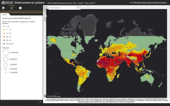 Mapa OMS Contaminacion Atmosferica Ciudades 2016