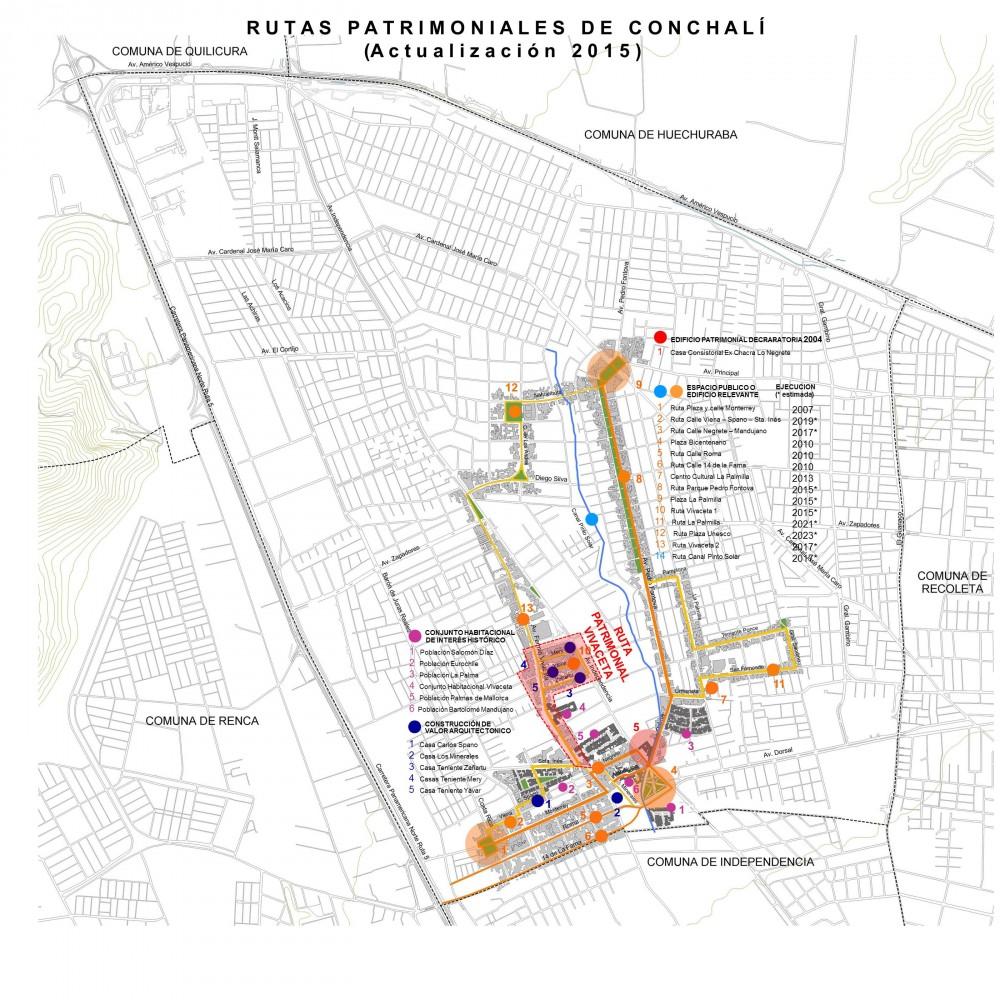Ruta Patrimonial Vivaceta. Cortesía Municipalidad de Conchalí para Plataforma Urbana.