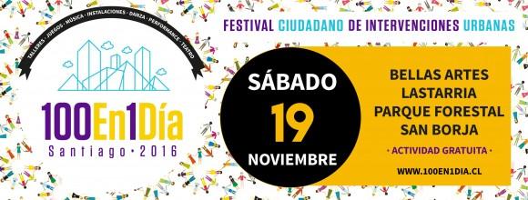 Afiche 100 en 1 Dia Santiago 2016