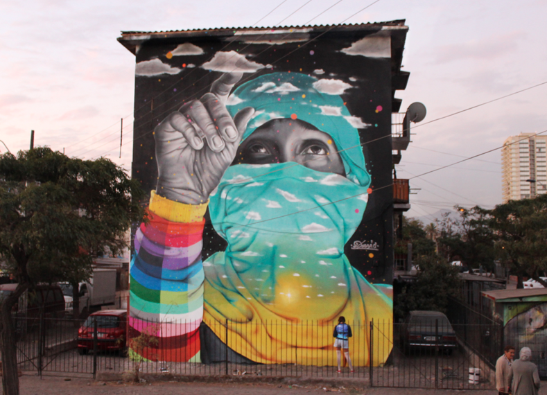 Dia del joven combatiente en museo a cielo abierto san for Papeles murales en santiago de chile