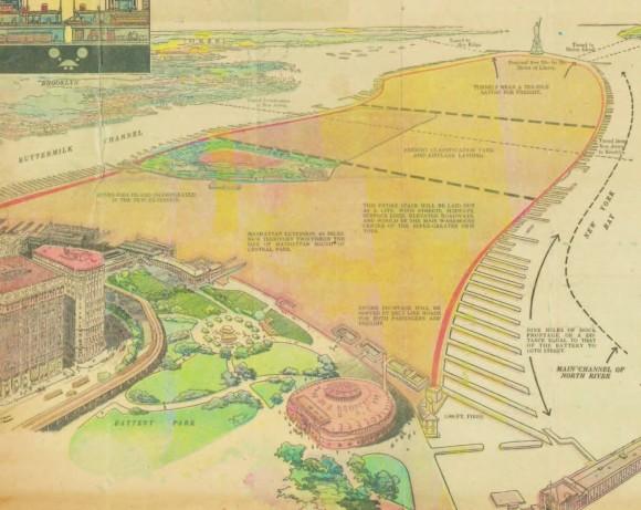 """T. Kennard Thomson: """"City of New Manhattan"""". El proyecto consistía en extender Manhattan en 6,4 kilómetros hacia el mar. Esta adición de 567 hectáreas hubiese conectado Battery Park con la Estatua de la Libertad. Imagen cortesía de Metropolis Books"""