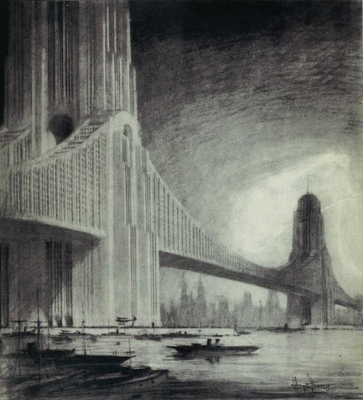 Raymond Hood: Skyscraper Bridge. Imagen cortesía de Metropolis Books