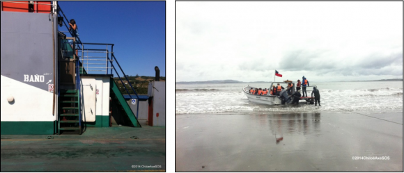 2014. Baños en transbordador canal Dalcahue (izquierda) y acceso a barca en Puñihuil (derecha).