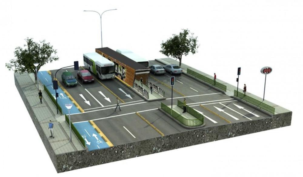 Perfil tipo Eje de Movilidad Independencia. Cortesía de la Municipalidad de Independencia para Plataforma Urbana