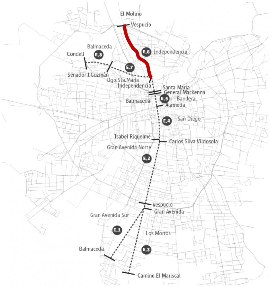Detalle Eje de Movilidad Independencia. Cortesía de la Municipalidad de Independencia para Plataforma Urbana