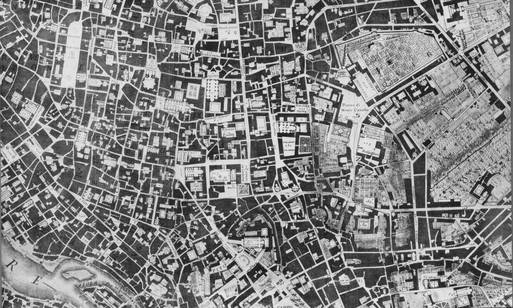 Sección del mapa de Giambattista Nolli de Roma de 1748. Imagen a través de la Biblioteca UC Berkeley (dominio público)