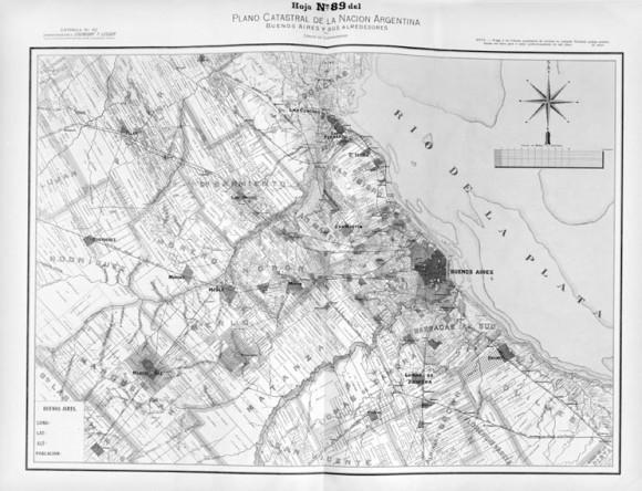 """""""Buenos Aires y sus alrededores"""", Carlos de Chapeaurouge, 1901. Fuente: Atlas Catastral de la República Argentina. Biblioteca Nacional, 912 (82) (084.4).. Image vía Novick, A., Favelukes, G. y Vecslir, L. (2015). Mapas, planes y esquemas en la construcción del Gran Buenos Aires. Anales del IAA, 45(1), 55-72. Licensed under CC BY 3.0"""