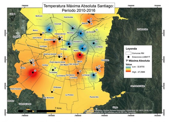 Temperatura maxima absoluta Santiago Periodo 2010 2016