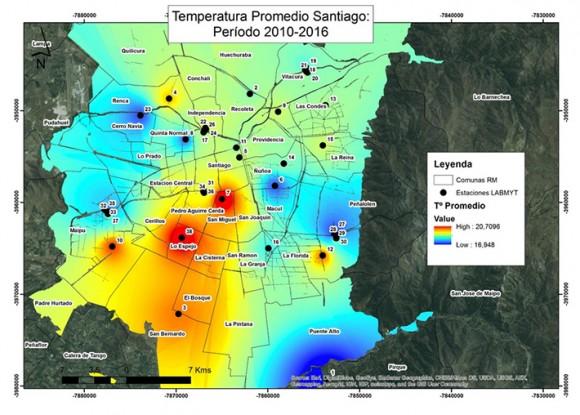 Temperatura promedio Santiago. Período 2010-2016. Cortesía Universidad de Chile