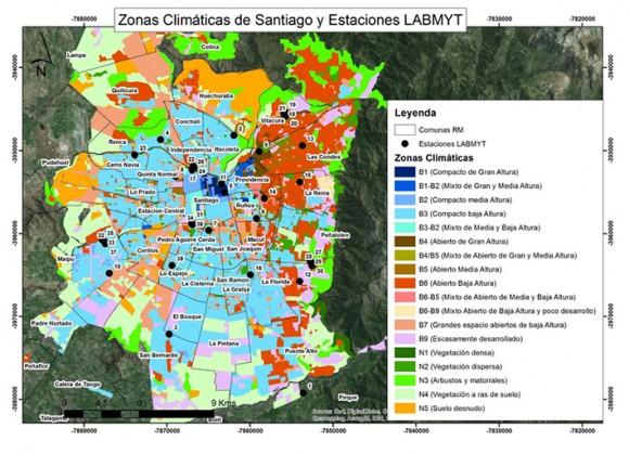 Zonas Climáticas de Santiago y Estaciones LABMYT. Cortesía Universidad de Chile