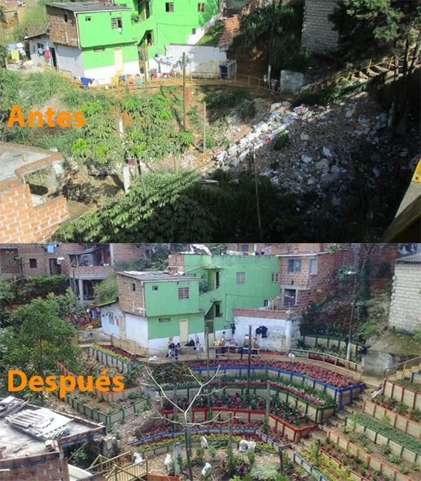 Antes / Después del Barrio Villa del Socorro Comuna 2, Medellín. Fotografías: © Secretaría del Medio Ambiente de Medellín.