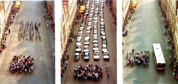 Comparación de espacio ocupado por automóviles y cicilistas. Image vía respiriamo