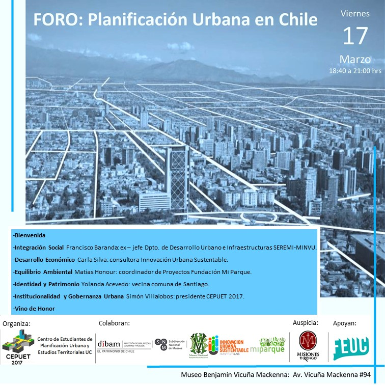 Flyer Foro Planificacion Urbana en Chile 17.03.2017