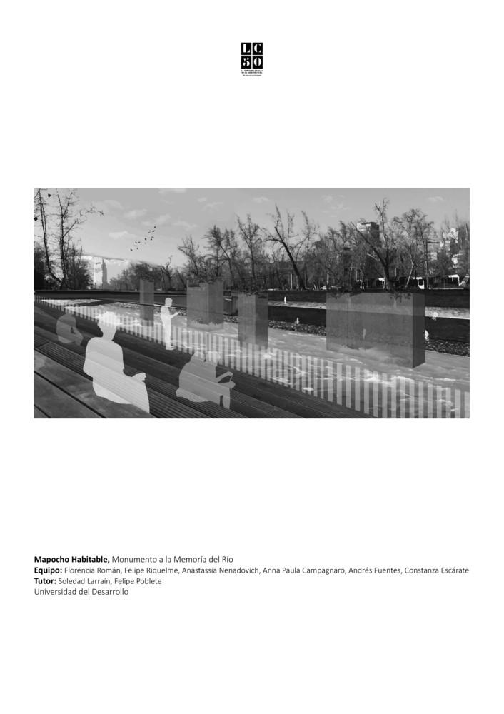 G13: Mapocho habitable: monumento a la memoria del río / Lámina 01. Image Cortesía de Grupo