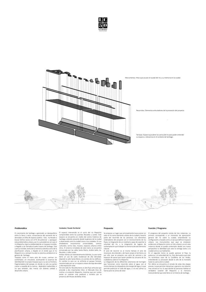 G13: Mapocho habitable: monumento a la memoria del río / Lámina 02. Image Cortesía de Grupo Arquitectura Caliente