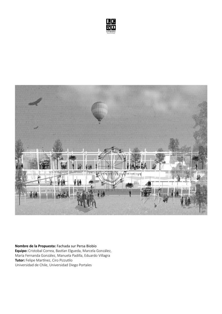 G15: Fachada sur persa Bío-Bío / Lámina 01. Image Cortesía de Grupo Arquitectura Caliente