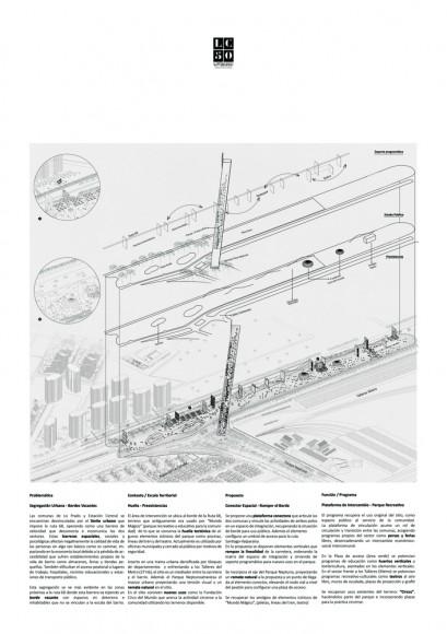 G2: Plataforma de integración comunal. Ruptura del borde segregador / Lámina 01. Image Cortesía de grupo Arquitectura Caliente