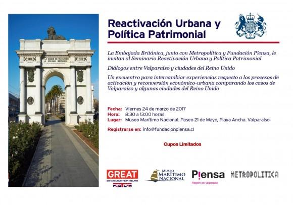 Invitación Seminario Reactivación Urbana Viernes 24 de Marzo 2017