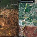 Imágenes satelitales de Colina (sector Chicureo) en 2003 (izquierda) y 2017 (derecha). Fuente: Google Earth