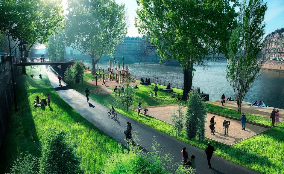Proyecto de peatonalización de la ribera derecha del Sena, París. © Luxigon