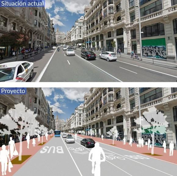 Antes y después de la Gran Vía de Madrid. Image Cortesía de Ayuntamiento de Madrid