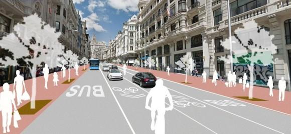 La Gran Vía de Madrid propuesta para 2018. Image Cortesía de Ayuntamiento de Madrid