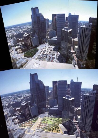 """Vista del terreno de Pacific Plaza"""". Fuente imágenes: Plan Maestro de Parques para el Centro de Dallas."""